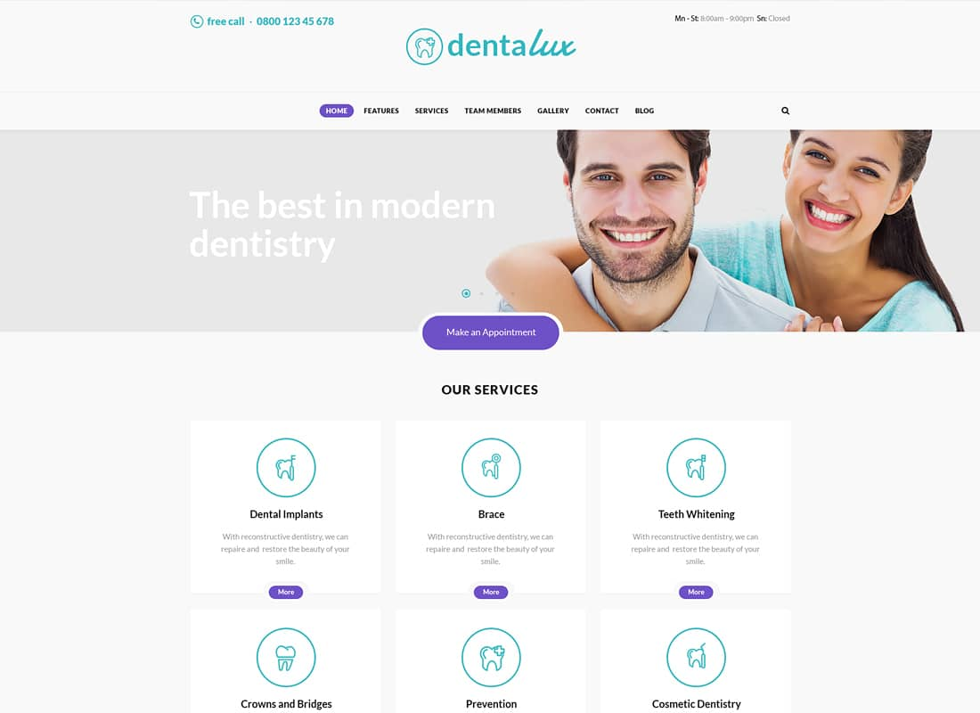 Dentalux | A Dentist Medical & Healthcare WordPress Theme Website Template