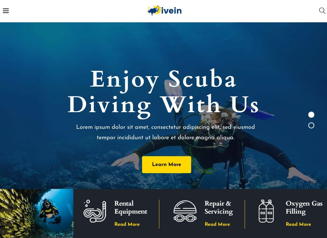 Divein - Scuba Diving & Surfing WordPress Theme Website Template