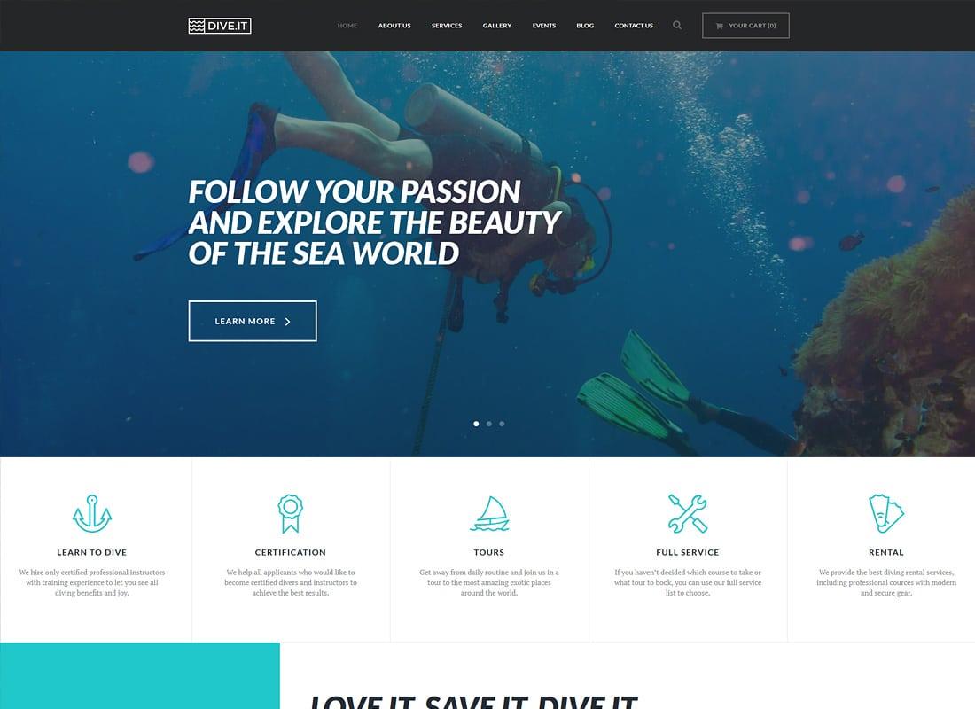 DiveIt | Scuba Diving School WordPress Theme Website Template