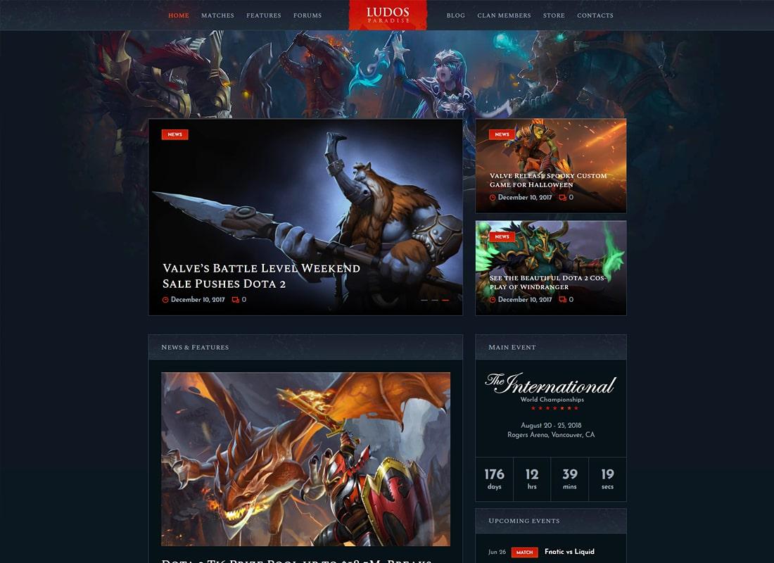 Ludos Paradise   Gaming Blog & Clan WordPress Theme Website Template