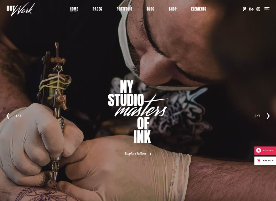 Dotwork - Tattoo Studio and Piercing Shop Theme Website Template