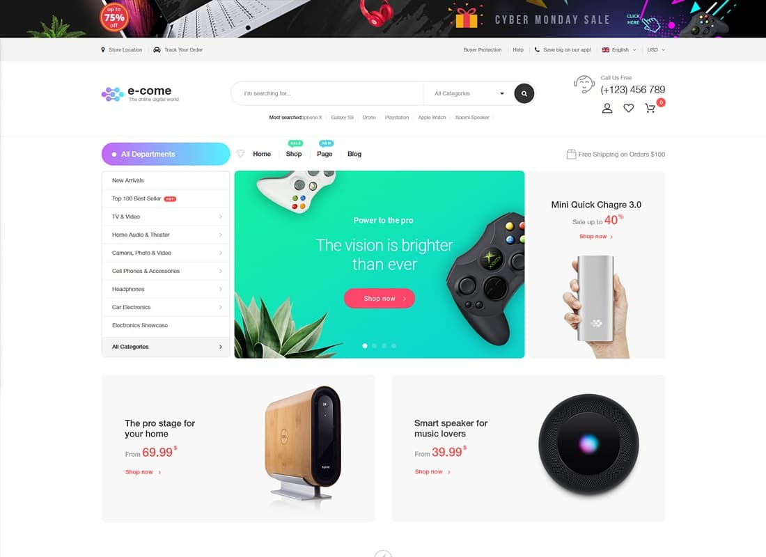 Ecome - Electronics Store WooCommerce Theme - RTL Supported Website Template