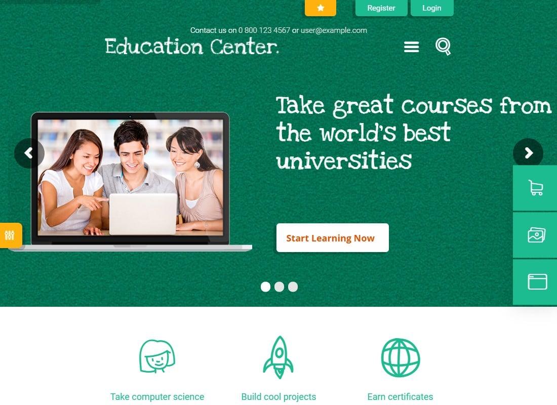 Education Center | LMS Online University & School Courses Studying WordPress Theme Website Template