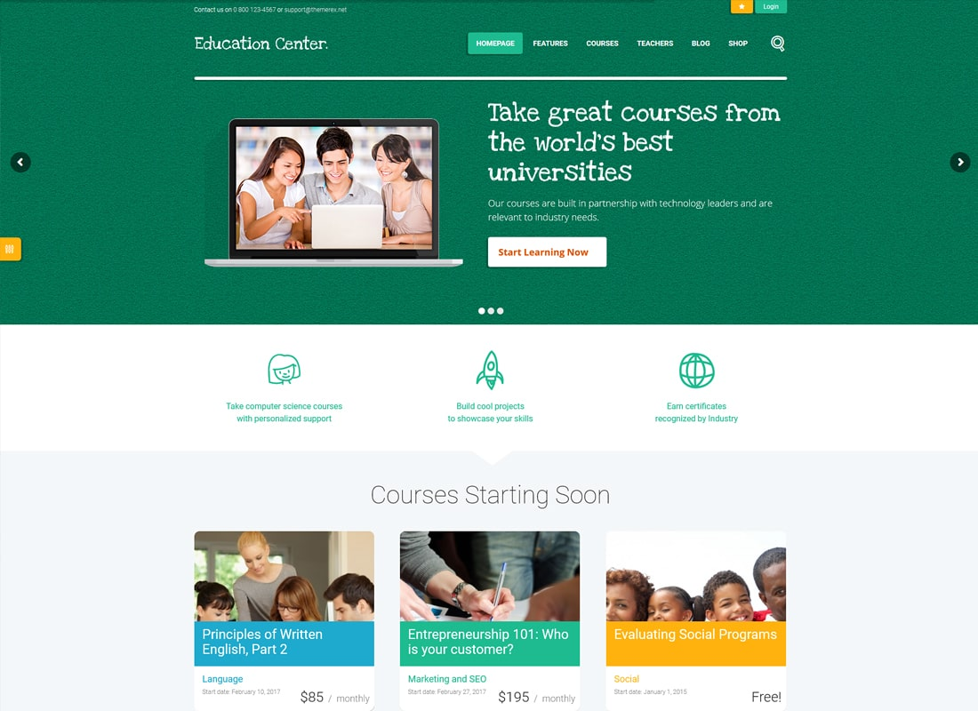 Education Center | Training Courses WordPress Theme   Website Template