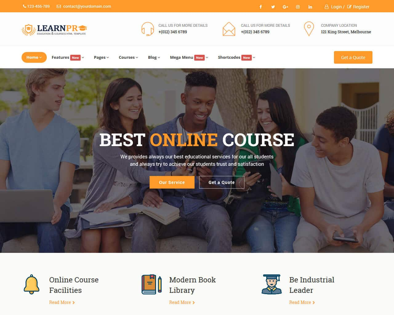 Education Course Website Template
