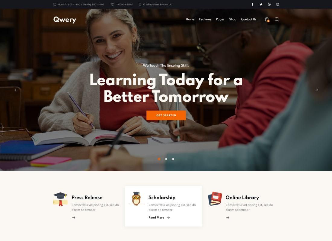 Qwery - Multi-Purpose Business WordPress Theme + RTL Website Template