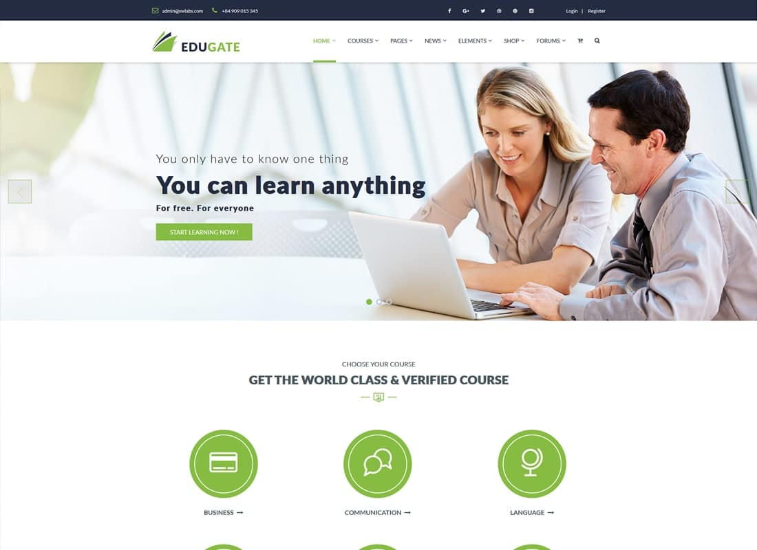 Education WordPress   Edugate Education Website Template