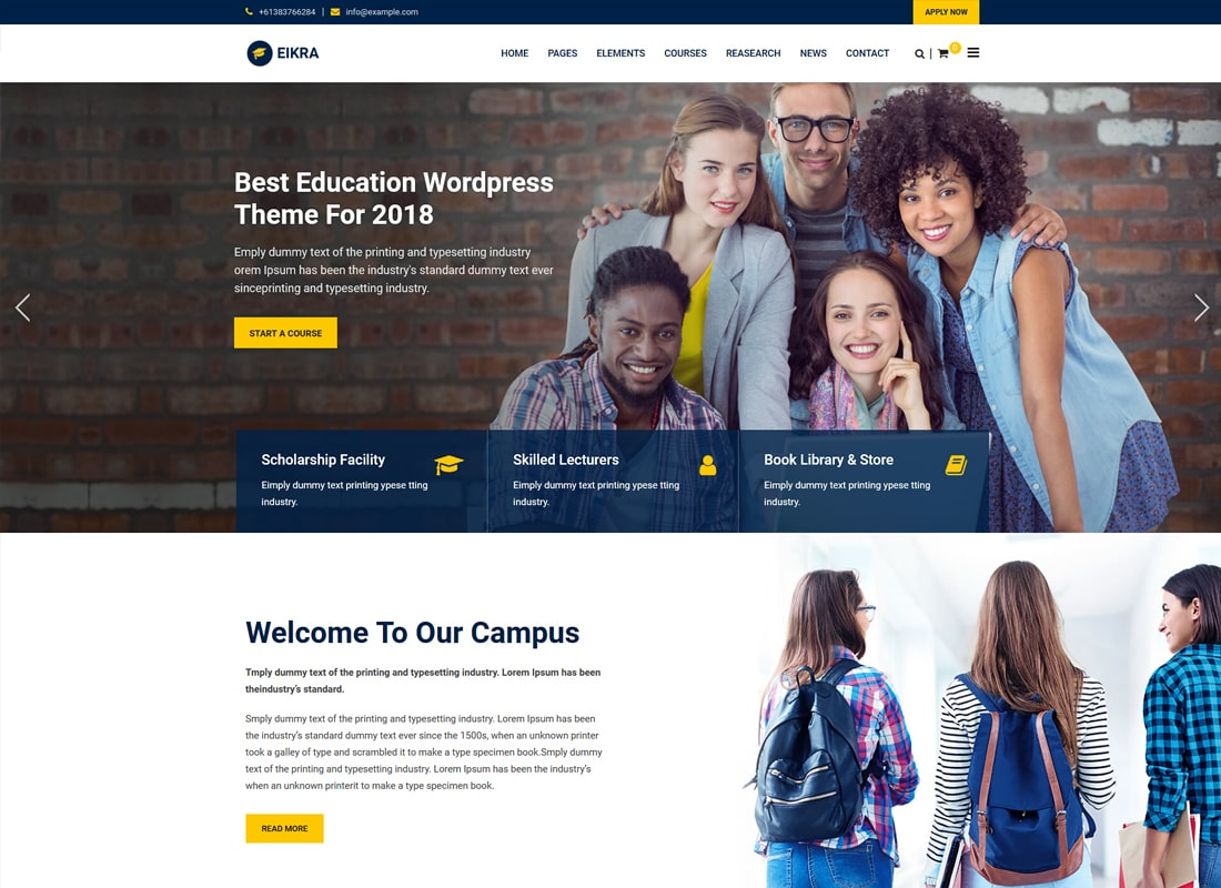 Eikra Education - Education WordPress Theme   Website Template