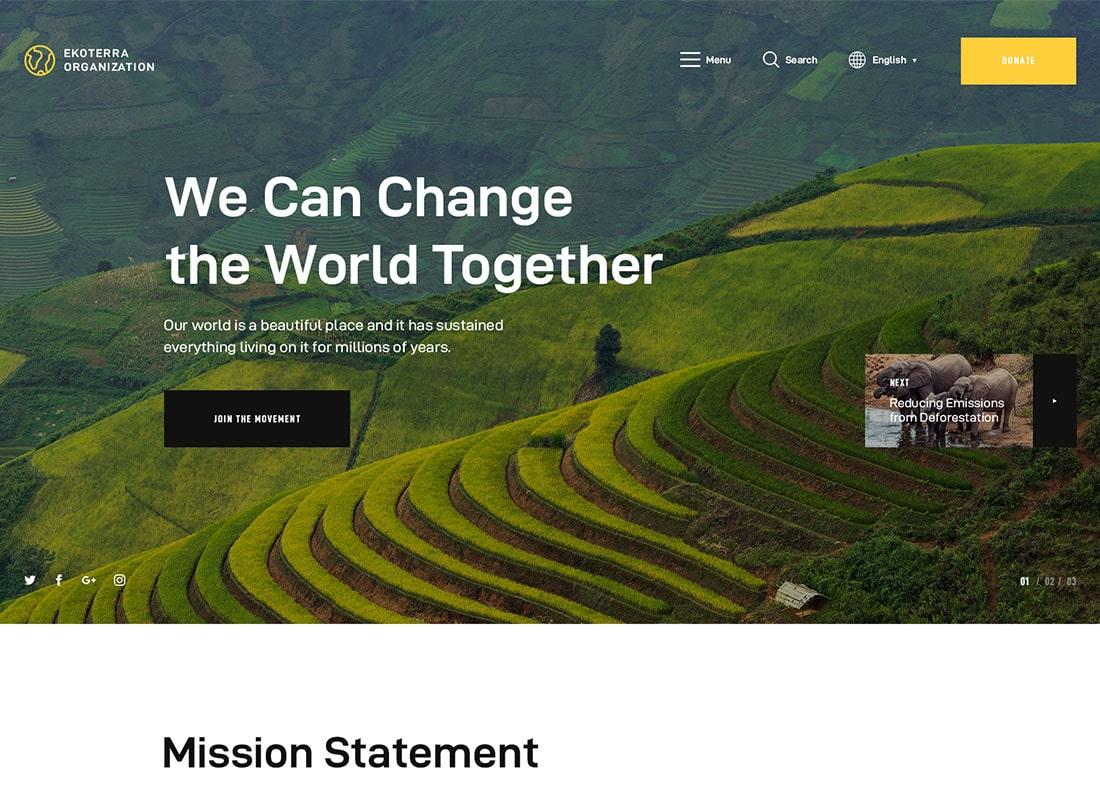Ekoterra - NonProfit & Ecology WordPress Theme Website Template