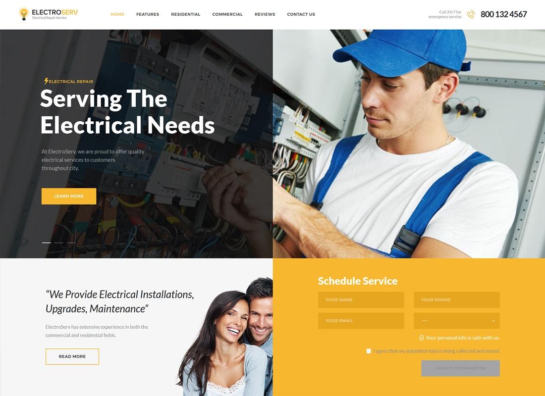 ElectroServ | Electrical Repair Service WordPress Theme Website Template