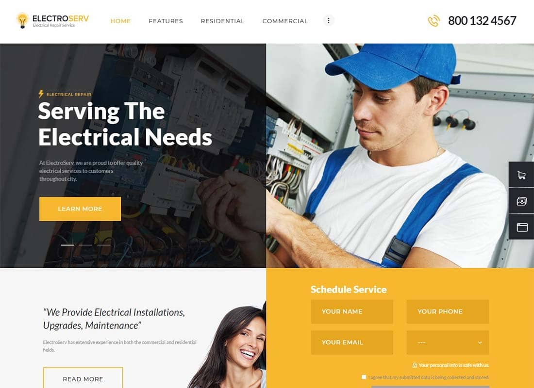 ElectroServ | Electrical Repair Service WordPress Theme Website Template