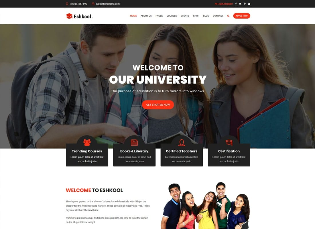 Eshkool Education - Education WordPress Theme   Website Template