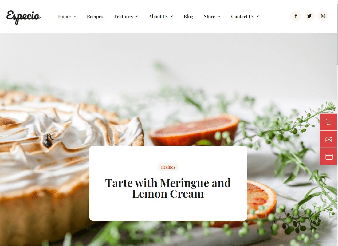 FoodBlog - Elementor Template Kit Website Template