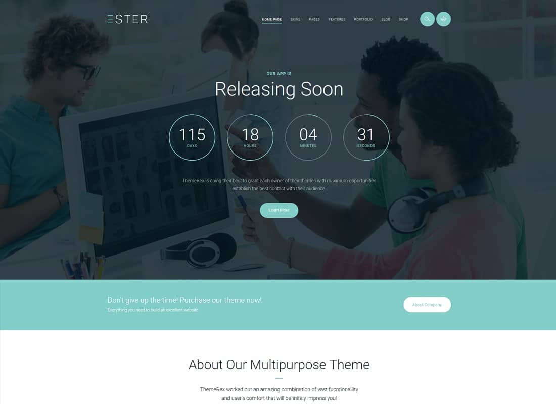 Ester - A Stylish Multipurpose WordPress Theme Website Template