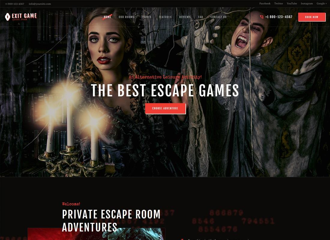 Exit Game | Real-Life Secret Escape Room WordPress Theme Website Template