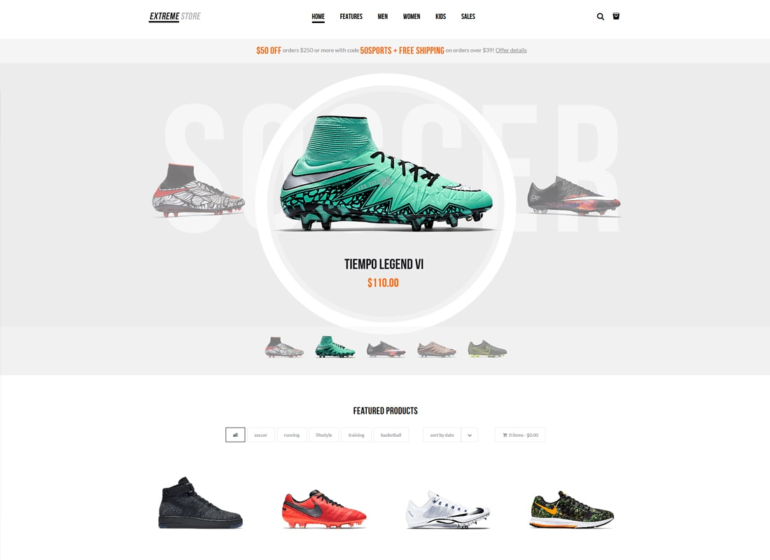 Extreme | Sports Clothing & Equipment Store WordPress Theme Website Template