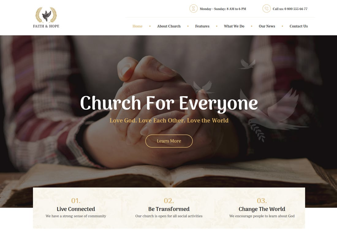 Faith & Hope | A Modern Church & Religion WordPress Theme Website Template
