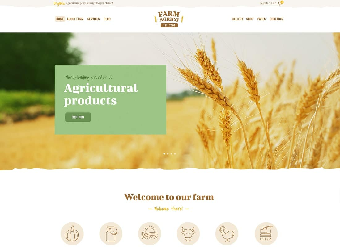 Farm Agrico | Agricultural Business & Organic Food WordPress Theme Website Template