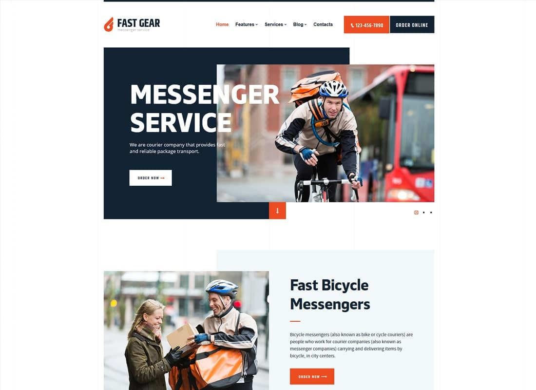 Fast Gear | Courier and Delivery Services Transportation WordPress Theme Website Template
