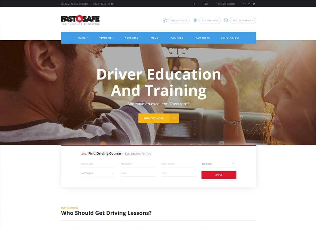 Fast & Safe | Driving School WordPress Theme   Website Template