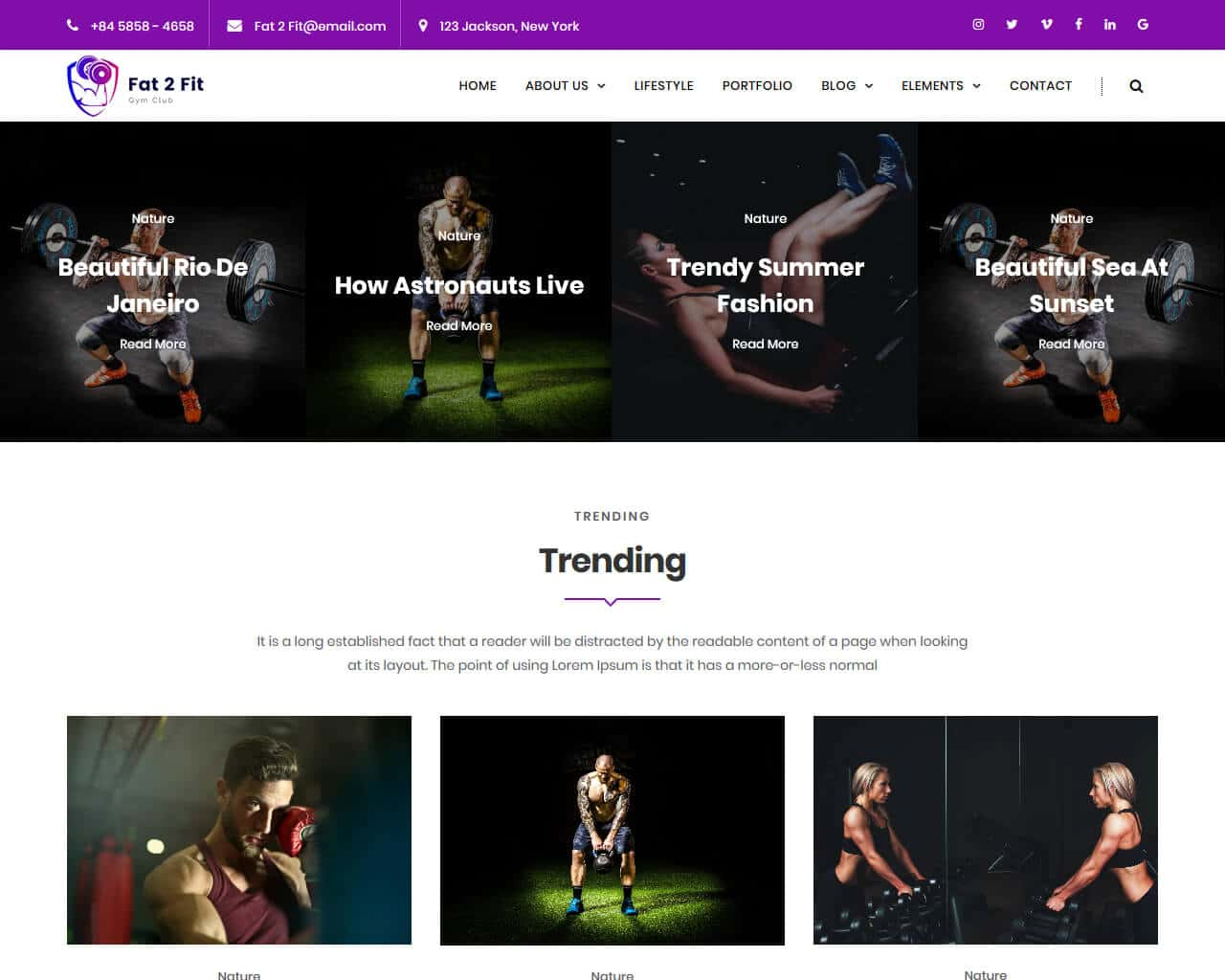Fat2Fit  Website Template