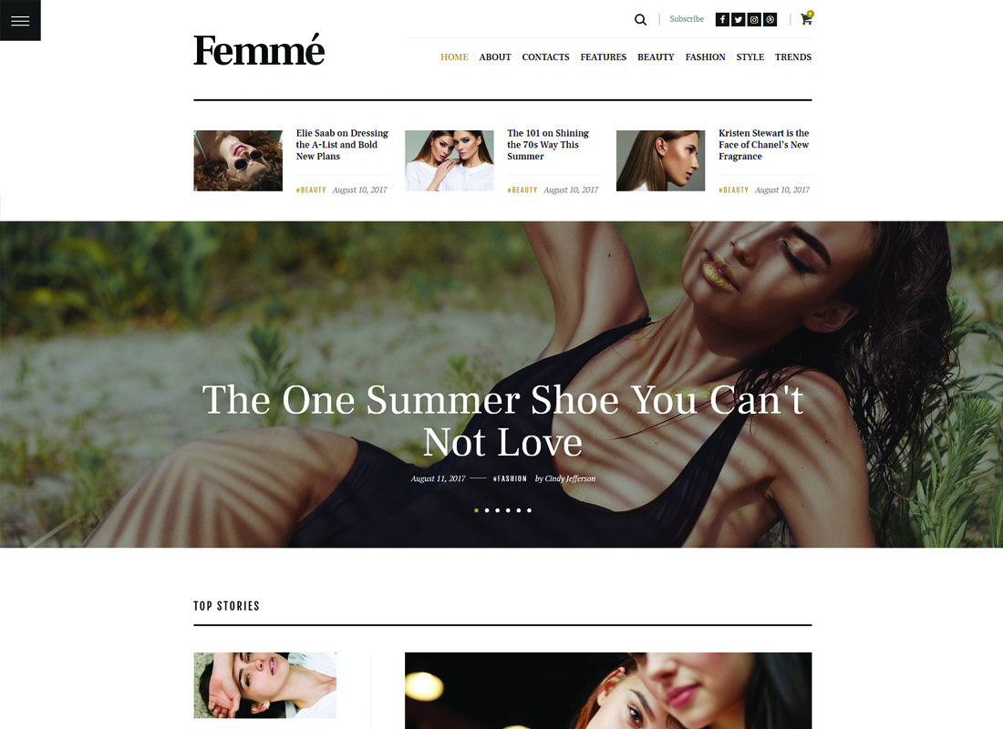 Femme | An Online Magazine & Fashion Blog WordPress Theme Website Template