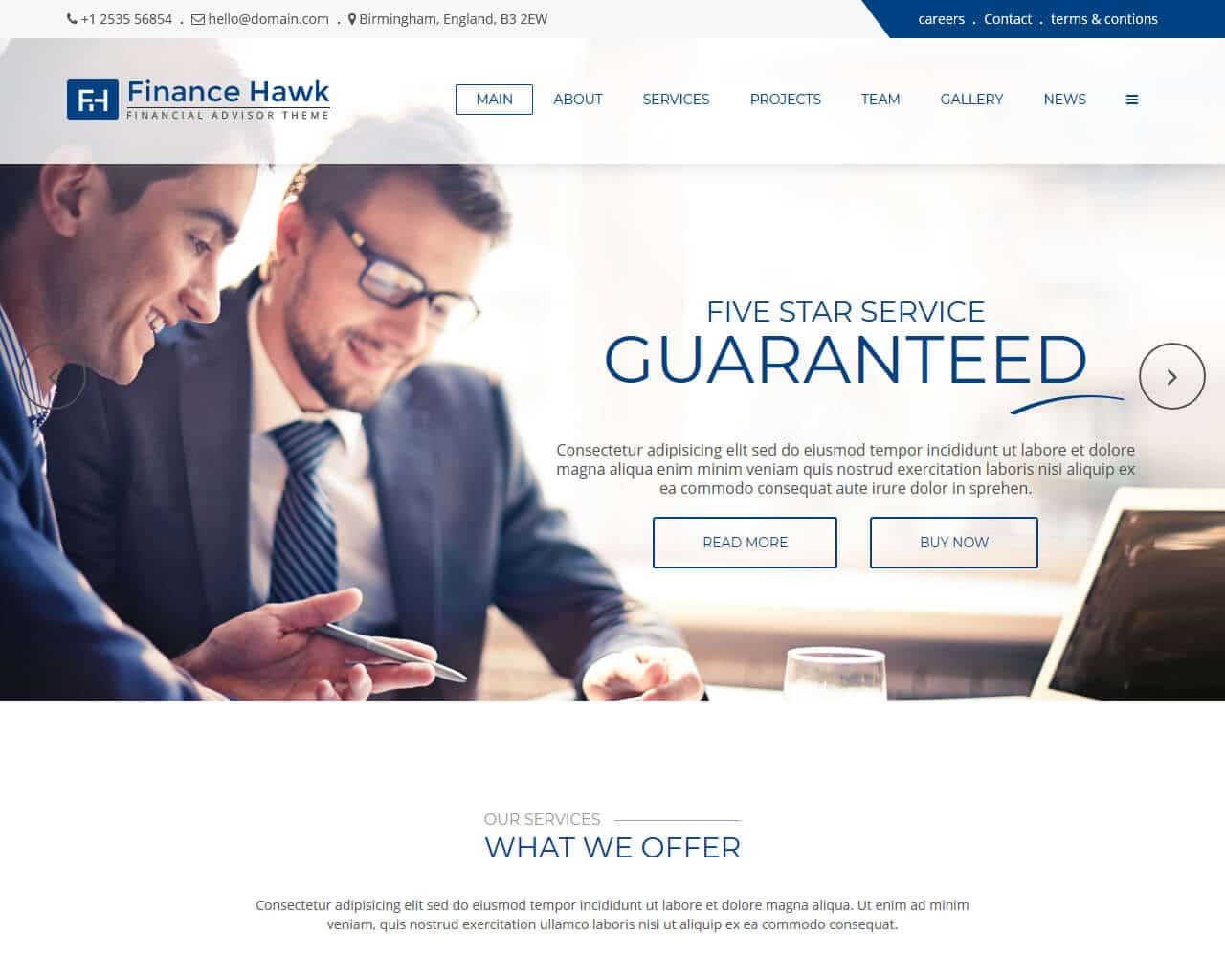 Finance Hawk Website Template