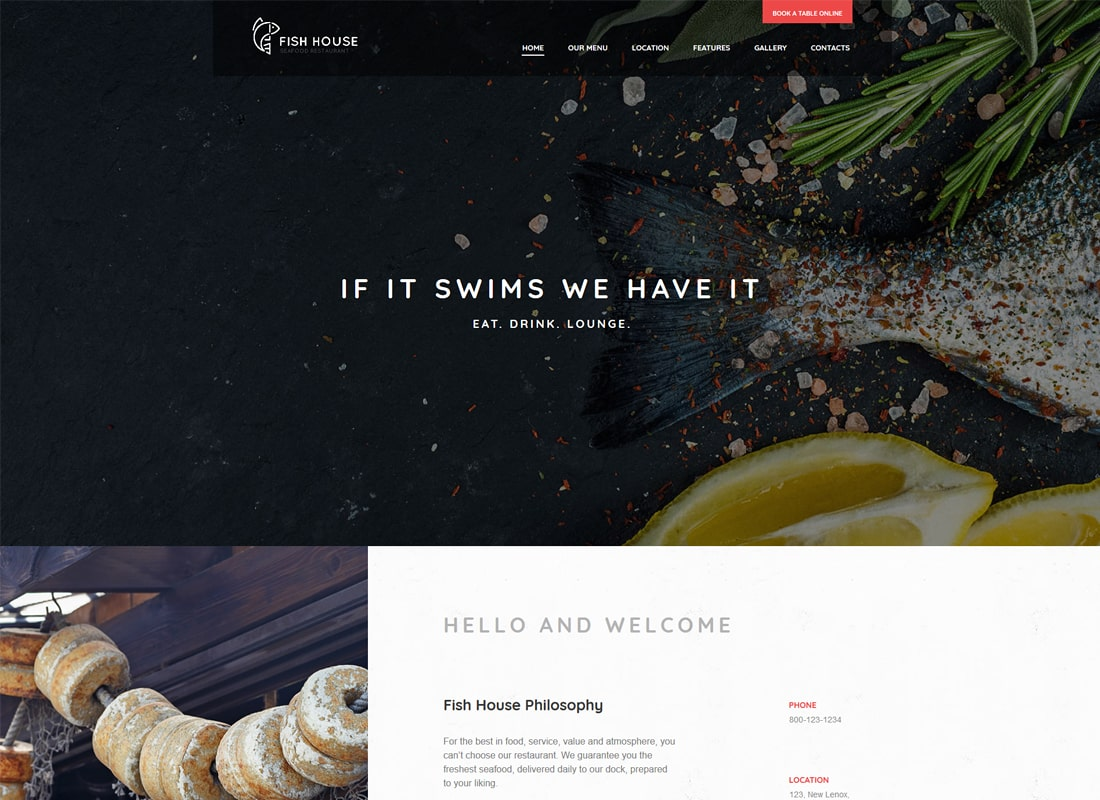 Fish House | A Stylish Seafood Restaurant / Cafe / Bar WordPress Theme Website Template