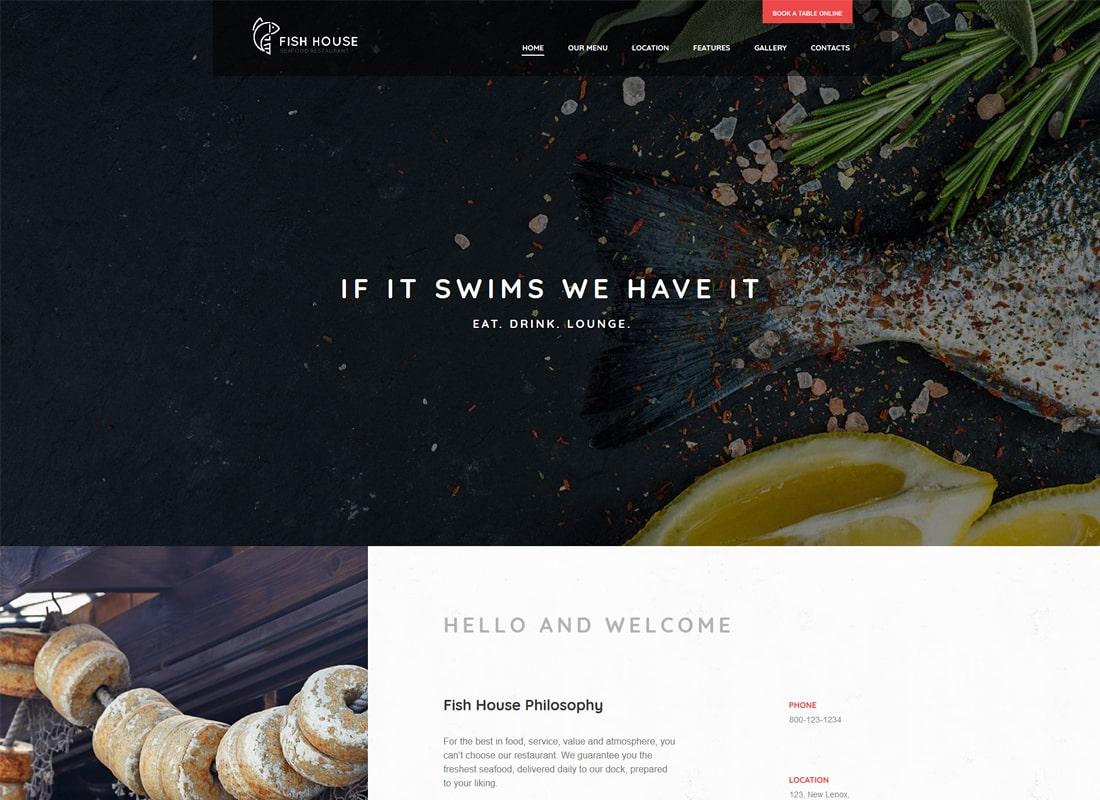 Fish House | A Stylish Seafood Restaurant / Cafe / Bar WordPress Theme Website Template