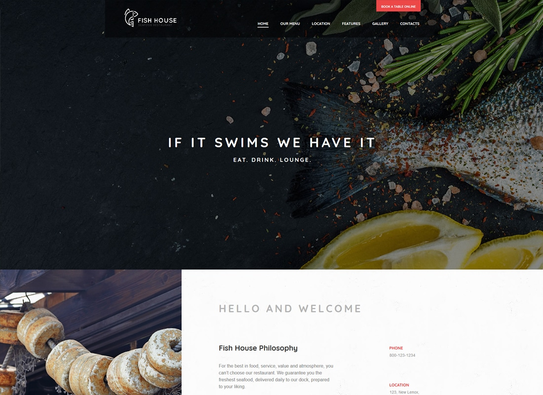 Fish House - A Stylish Seafood Restaurant / Cafe / Bar WordPress Theme Website Template