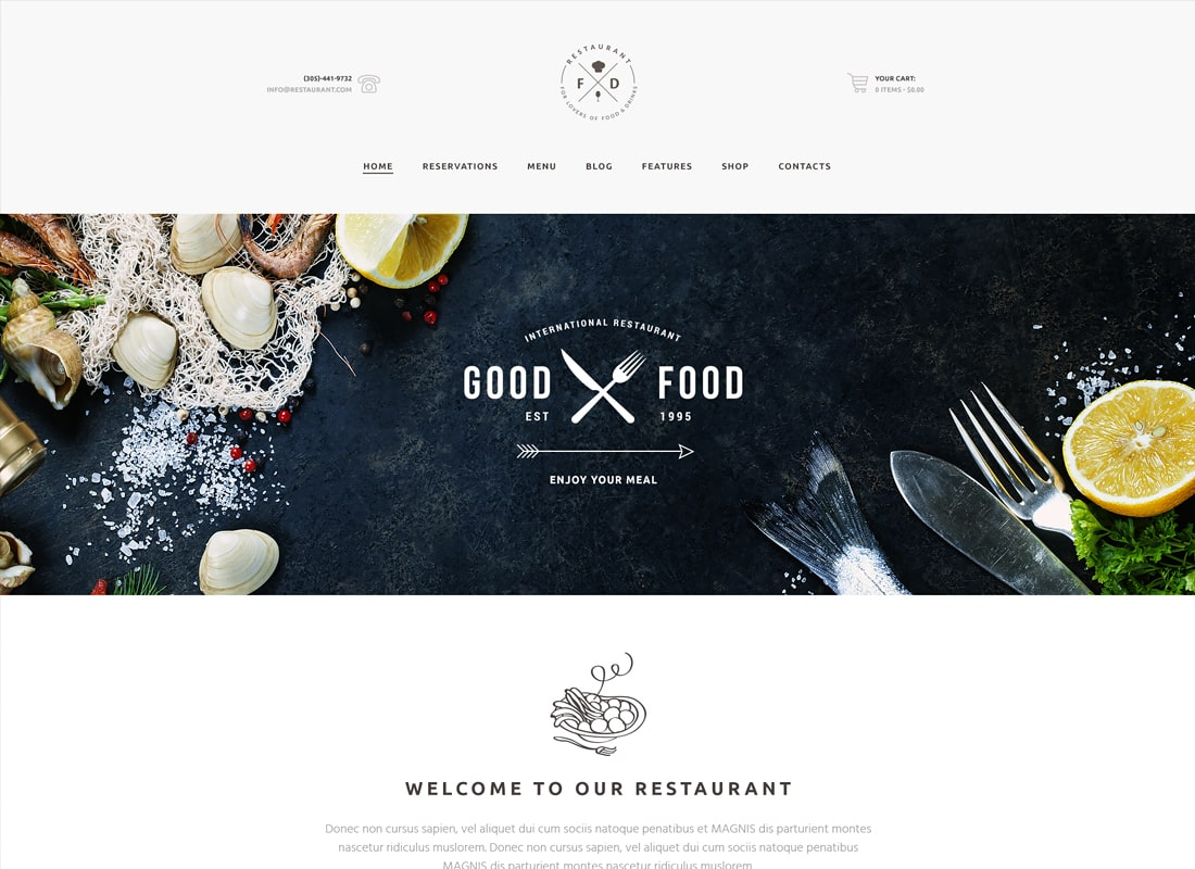 Food & Drink | An Elegant Restaurant / Cafe / Pub WordPress Theme Website Template