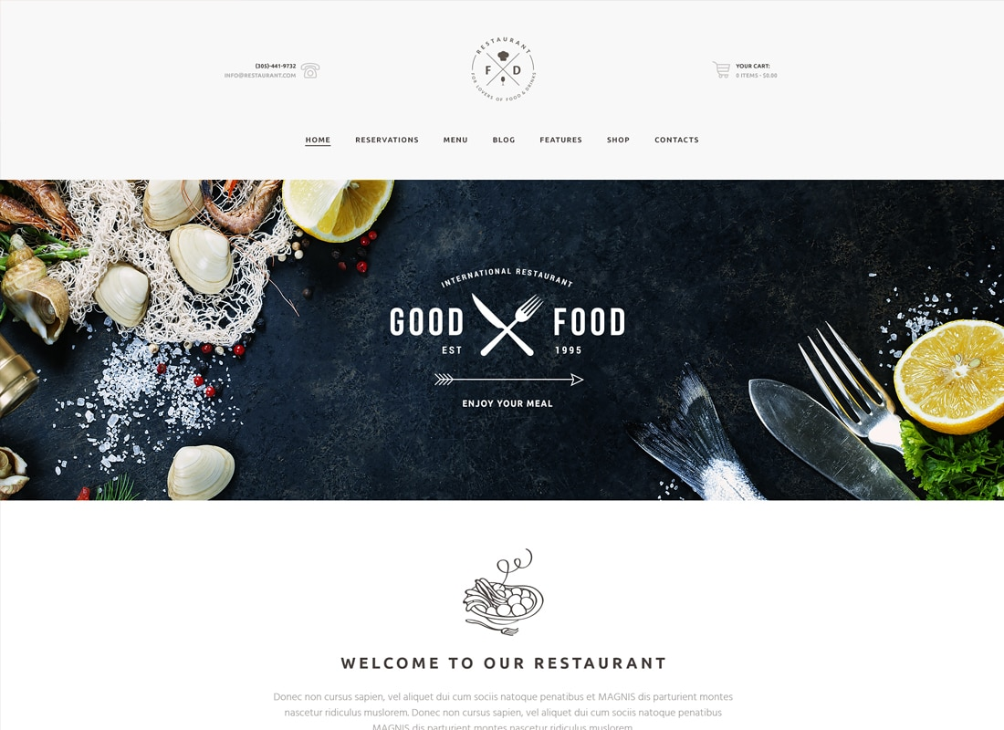 Food & Drink - An Elegant Restaurant / Cafe / Pub WordPress Theme Website Template