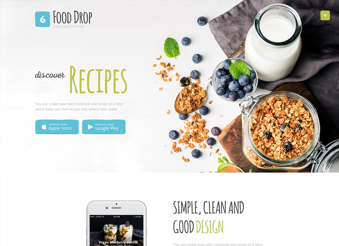 Food Drop | Meal Ordering & Delivery Mobile App WordPress Theme Website Template