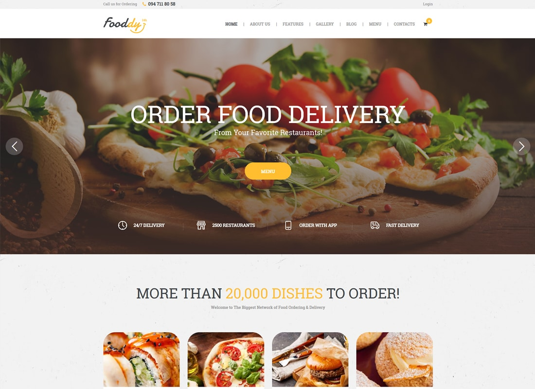 Fooddy 24/7 - Food Ordering & Delivery WordPress Theme   Website Template