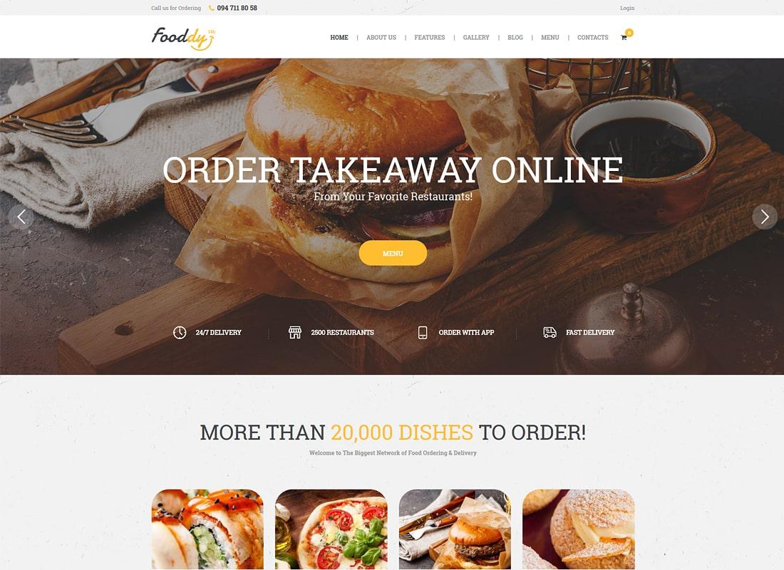Fooddy 24/7 - Food Ordering & Delivery WordPress Theme Website Template