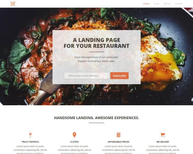 FoodLanding – Bootstrap Landing Page Template