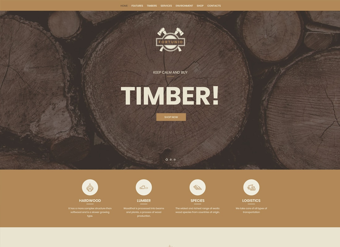 Fortunio | Timber / Forestry / Wood Manufacture WordPress Theme Website Template