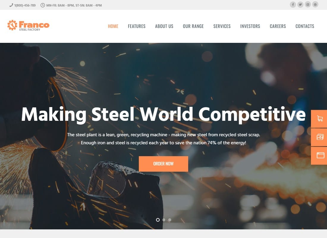 Franco | Steel Factory & Industrial Plant Manufacturing WordPress Theme Website Template