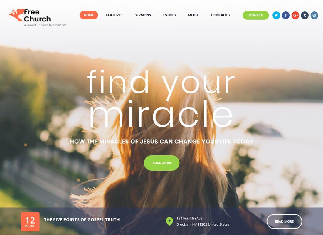 Free Church | Religion & Charity WordPress Theme Website Template