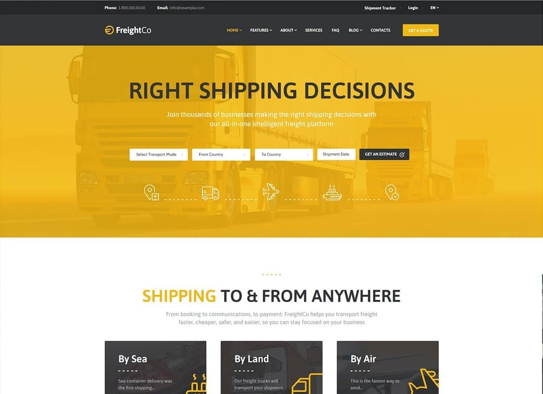 FreightCo | Transportation & Warehousing WordPress Theme Website Template