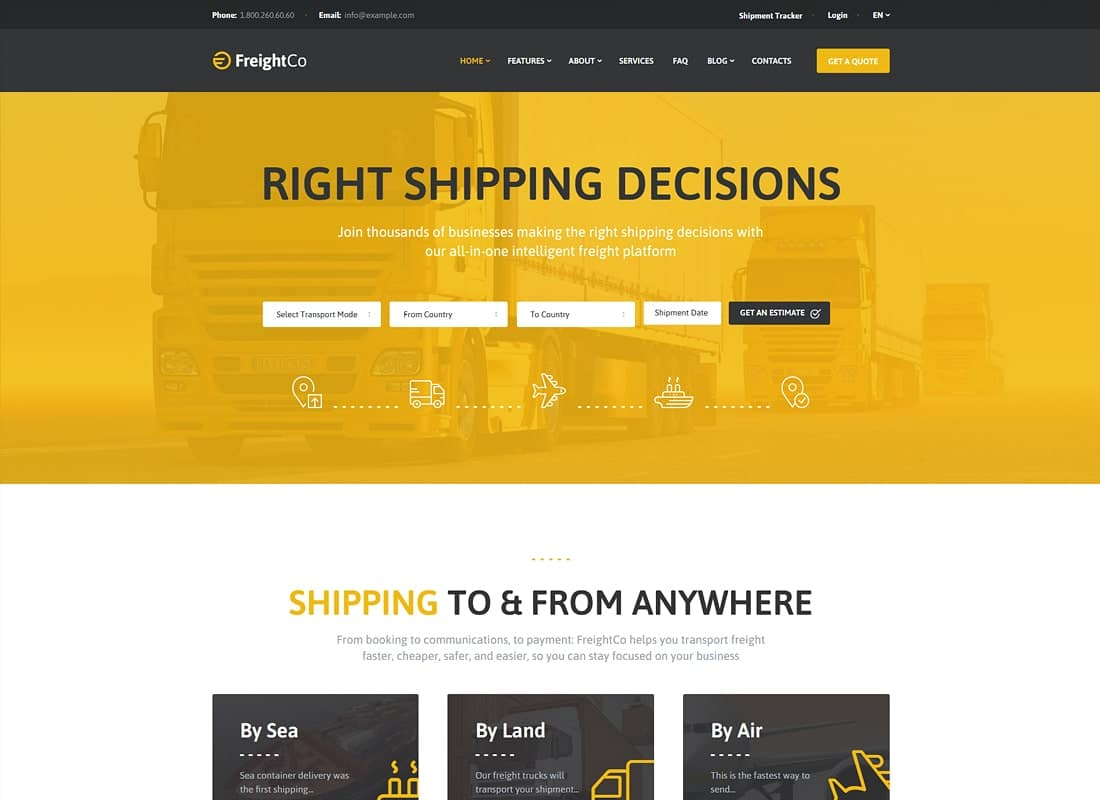 FreightCo | Transportation & Warehousing Shipping WordPress Theme Website Template