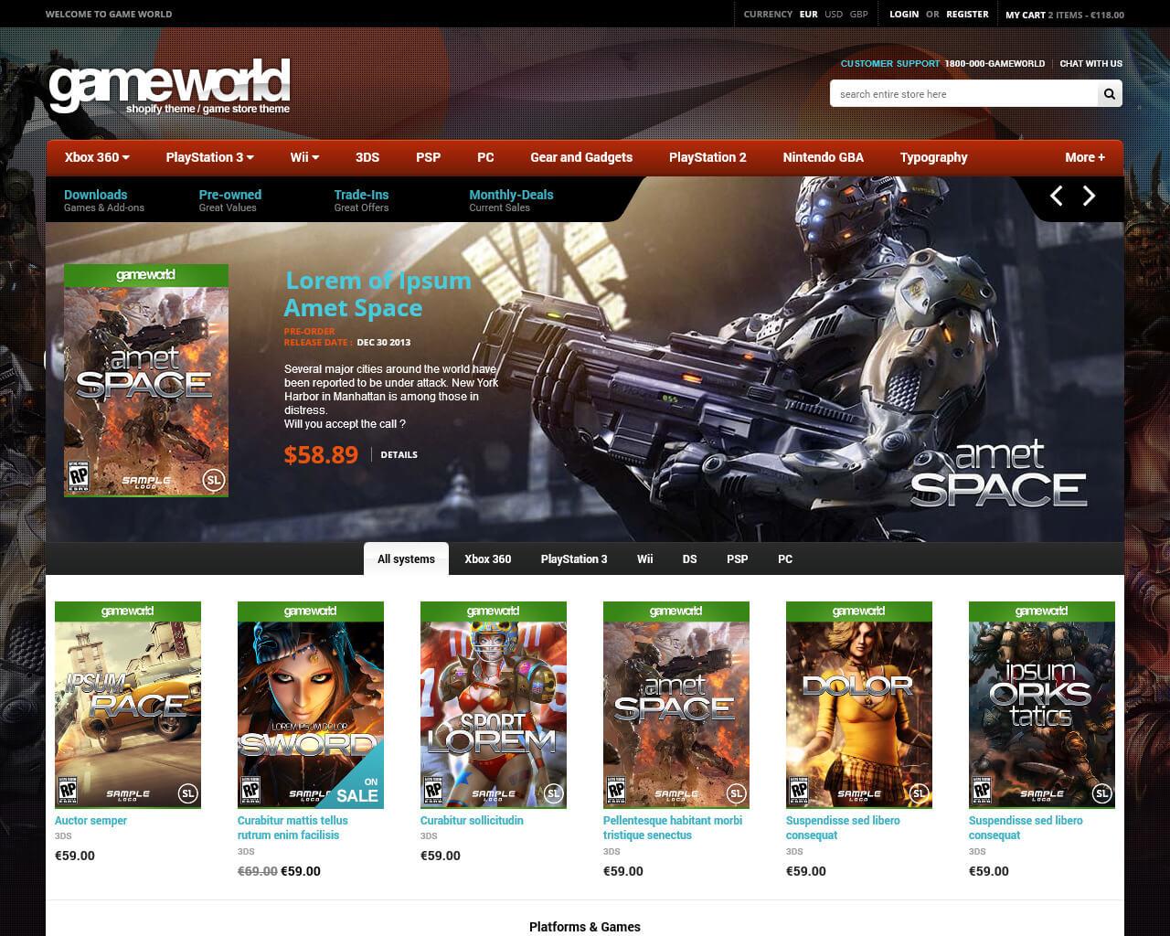 GameWorld Website Template