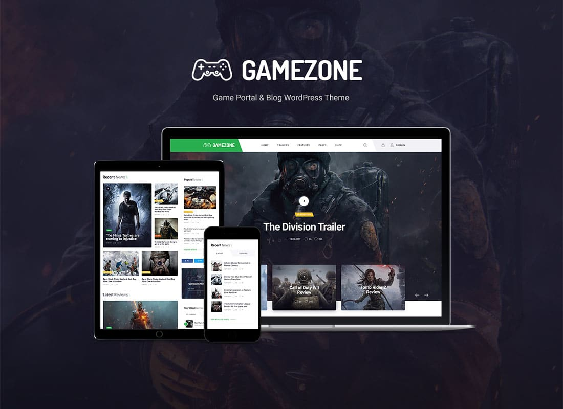 Gamezone | Video Gaming Blog & Esports Store WordPress Theme Website Template