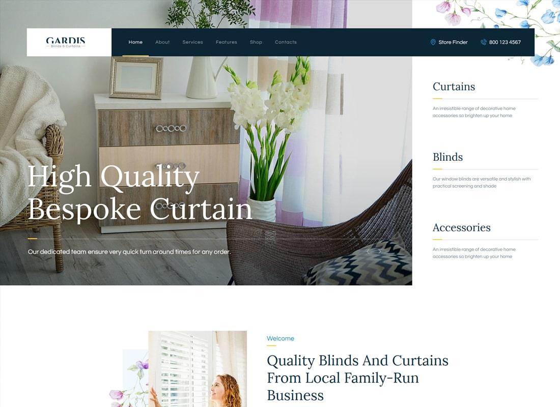 Gardis   Blinds and Curtains Studio & Shop WordPress Theme Website Template