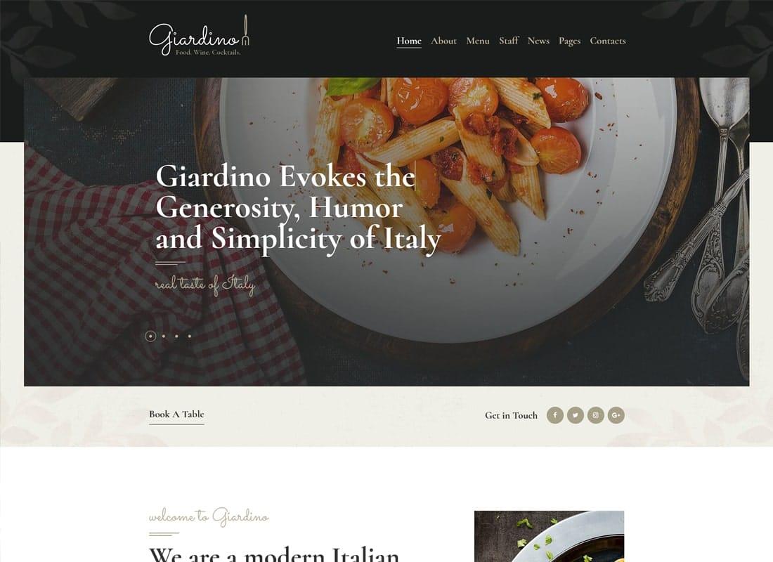 Giardino | An Italian Restaurant & Cafe WordPress Theme Website Template