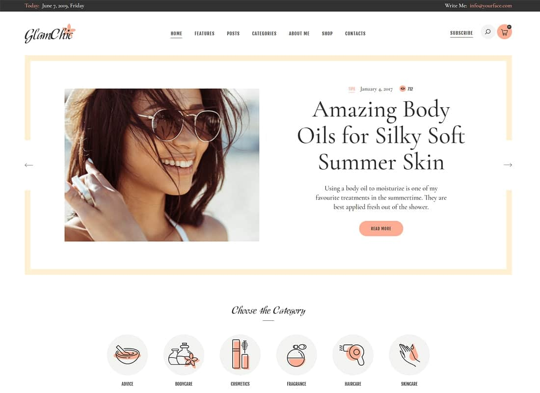 GlamChic | Beauty Blog & Online Magazine WordPress Theme Website Template