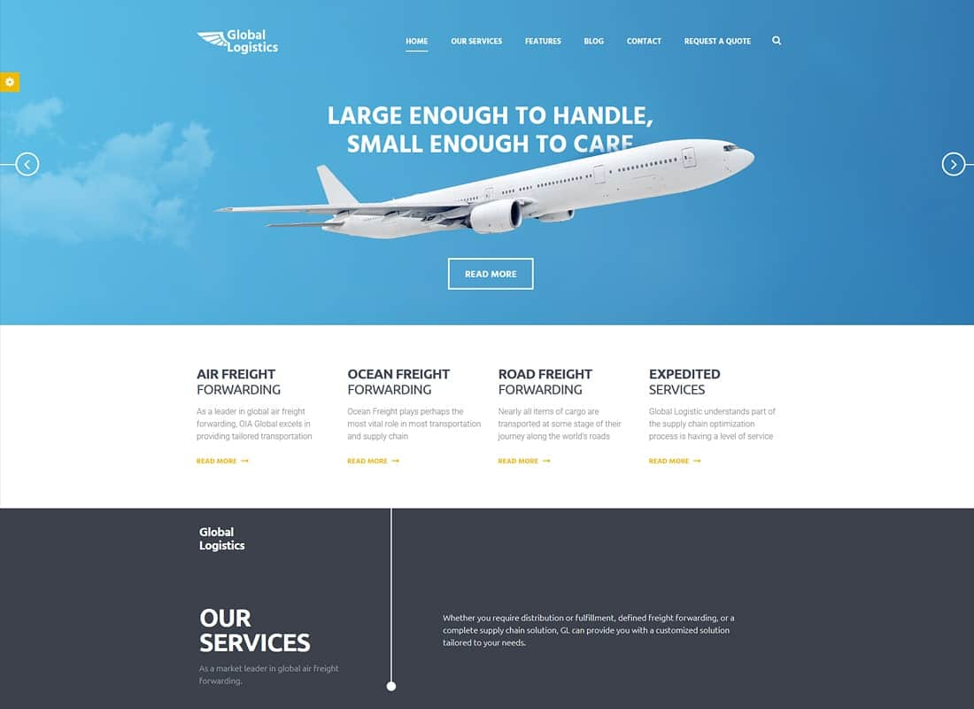 Global Logistics   Transportation & Warehousing WordPress Theme Website Template