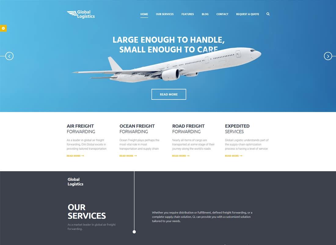 Global Logistics - Transportation & Warehousing WordPress Theme Website Template