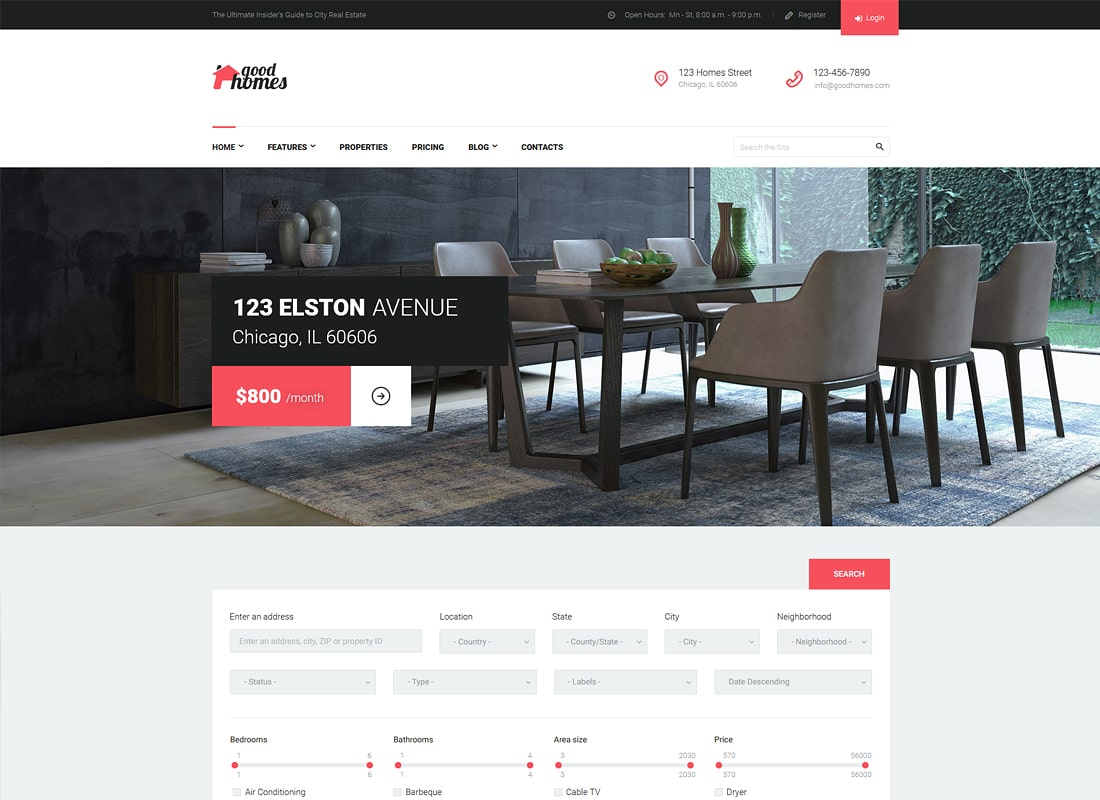 Good Homes | A Contemporary Real Estate WordPress Theme Website Template