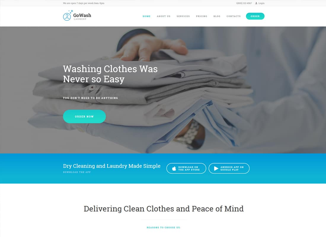 GoWash | Dry Cleaning & Laundry Service WordPress Theme Website Template